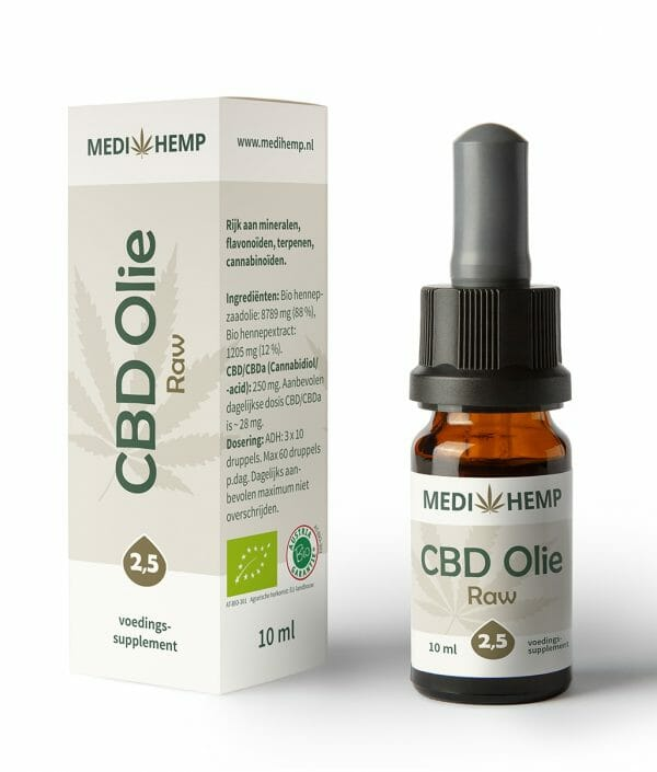 CBD olie RAW 2,5% 10 ml MediHemp