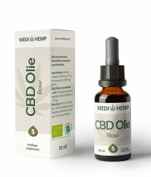 CBD olie RAW 5% 30 ml MediHemp